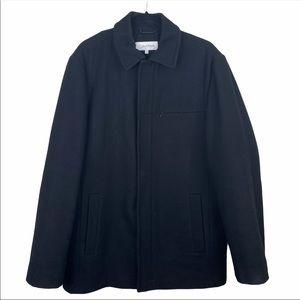 Calvin Klein Black Wool Car Coat Size Small